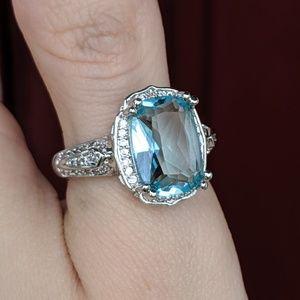 🆕S925-Aquamarine/White Sapphire Cocktail Ring Sz9